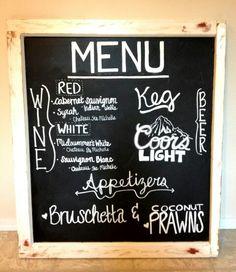 Chalkboard Wedding Cocktail hour menu