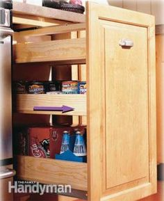 Kitchen Storage Projects That Create More Space: Build these 5 kitchen storage projects and increase the storage capacity of your cabinets without increasing the size of your kitchen or replacing cabinets.