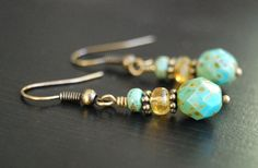 Small Turquoise Boho Earrings Beaded Dangle with by BoulderBeads