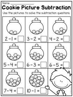 Kindergarten Addition and Subtraction Worksheets (up to - Math Subtraction Kindergarten, Addition And Subtraction Worksheets, Kindergarten Math Worksheets, Math Addition, Preschool Math, Teaching Math, Math Activities, Kindergarten Classroom, Halloween Worksheets