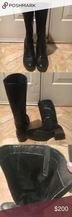 Black Boots Eric Michael (Portuguese brand!) water-resistant and insulated leather knee-high boots. Size 38 but would fit a 7.5 best I think. I'm a 7 and they are too big on me. My calf circumference at its widest is 14 inches and there is still room (about 1-1.5 inches). Used about 6 times total, like new! Heel is brown, has excellent traction on sole. Perfect fashion boot for winter! Eric Michael Shoes Winter & Rain Boots