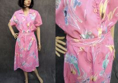 80's 'Two Dees' Pink Abstract Floral Dress by ElkHugsVintage, $25.00