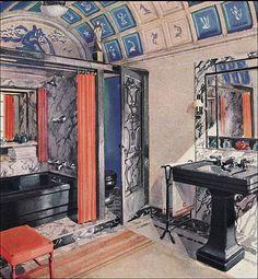 1929 Crane ad for Orange & Black Bathroom. ---- umm hello i want this Art Deco Bathroom, Bathroom Colors, Colorful Bathroom, Bathroom Designs, Bathroom Ideas, Bathroom Renovations, Bathroom Interior, House Design Photos, Cool House Designs