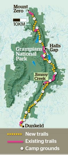 The new Grampians National Park track route.