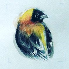 """""""Yellow bird""""  Watercolor on paper"""