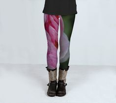 Pink yoga rose flower subliminated print leggings sizes S - L by ParadoxYoga on Etsy