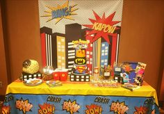 Cake table, treat table, hello kitty superhero, birthday cake, birthday party