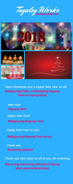 Christmas and New Year greetings in Tagalog New Year Words, Filipino Words, Tagalog Words, Filipino Culture, New Year Greetings, Christmas And New Year, Happy New Year, Education, Learning
