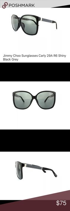 Jimmy Choo Carly 29A/R6 Sunglasses Cat-eye style, shiny black with grey glitter/textured side detail. Come with case, but no cleaning cloth. Not sure if they have been worn (hence the price) but there are absolutely no scratches on lenses. Small scuff on one side as seen in last picture, but barely noticeable. Case has small crease in lid corner, but again, barely noticeable. Couldn't even capture it in a picture. Jimmy Choo Accessories Sunglasses