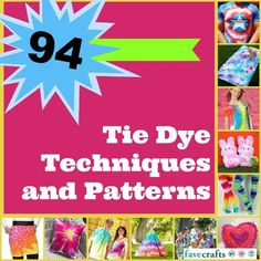 Tie Dye Techniques... Get ready for summer with this epic collection of 94 Tie Dye Techniques and Patterns.  From tee shirts to picture frames, aprons to flip flops, these tie dye projects and techniques are great for crafters of all ages, and a great way to celebrate warm weather and sunshine!