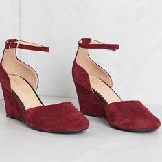 "Marais USA wedges Anthropologie Burgundy suede wedges from Anthropologie new in box. 3"" wedge Anthropologie Shoes Wedges"