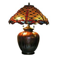 Warehouse of Tiffany 2564+PB10 2 Light Style Ceramic Base Jewel Table Lamp - Lighting Universe