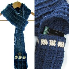 TARDIS Sodalite Blue Scarf, Doctor Who Inspired Accessory w Pocket Cozies, New Recycled Yarn, Steampunk Sci Fi Fantasy Geekery Accessory