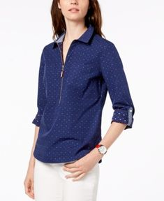 Tommy Hilfiger Cotton Half-Zip Printed Popover Top, Created for Macy's - Navy Multi XS Polo Shirt Women, Tommy Hilfiger, Plaid, Zip, Printed, Navy, Cotton, Jackets, Shirts