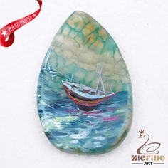 Hand Painted Sailboat Agate Slice Gemstone Necklace Pendant Jewlery D1707 0203 #ZL #Pendant