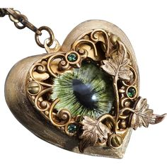 Steampunk Necklace Dragon Eye Necklace I Love You Necklace from DesignsBloom on Ruby Lane Steampunk Heart, Steampunk Necklace, Diesel Punk, Moon Necklace, Heart Pendant Necklace, Choker Necklaces, Eye Jewelry, Clay Jewelry, Jewlery