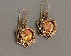Sidonia's handmade jewelry - Sunset Glare - Beaded Earrings