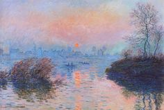 Sunset on the Siene, Winter, 1880 Claude Monet - Art Painting Impressionism Impressionist