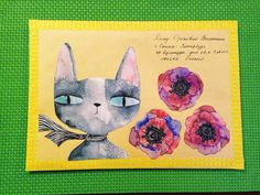 A letter to my grandmother. What else do you need? Flowers yes cat :))#mailart