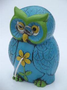 Owl Tableware vintage | Retro 70s wise owl w/ glasses string & scissors holder, for desk or ...