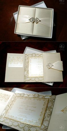 {Pamela & Matthew} Silk Gatefold Folio Invite Lela New York designed Pamela's Silk Gatefold folio wedding invitations in a beautiful ivory and gold with an Austrian crystal closure. Pam was getting married in Oheka Castle and wanted an elegant and romantic look. We combined gold printing and lace embellishment to accomplish her couture wedding invitation's style of royal elegance and luxury that set the tone for her wedding. www.lelanewyork.com