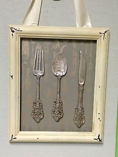 Shabby Chic Knife Fork And Spoon Framed Wall Art in Home & Garden, Home Décor, Plaques & Signs | eBay