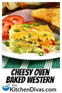 Cheesy Oven Baked Western Kitchen Divas - This Cheesy Oven Baked Western Is A Favorite For Breakfast Or Even Dinner Full Of Ham Onions Peppers Cheese And Surrounded By Egg Perfection Healthy Egg Breakfast, Breakfast For A Crowd, Best Breakfast Recipes, Breakfast Bake, Breakfast Casserole, Brunch Recipes, Gourmet Recipes, Brunch Ideas, Cookbook Recipes