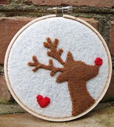 Rudolph the RedNosed Reindeer Felt Embroidery Loop by ArtAlley, $15.00