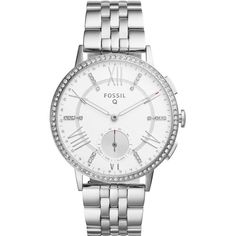 Fossil Fossil Q Gazer Rose Dial Leather Strap Ladies Hybrid Smart... ($250) ❤ liked on Polyvore featuring jewelry, watches, fossil watches, roman numeral jewelry, roman numeral watches, stainless steel jewelry and heart shaped jewelry