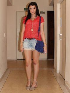 Look do dia: Espadrilha - Just Lia Camisa Coral, Short Jeans, Swatch, Zara, Inspired, Style, Fashion, Look Do Dia, Snake Bracelet