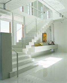 Image detail for -Glass staircase White Apartment Interior Design Ideas – Home . Loft Interior Design, Interior Stairs, Interior Architecture, Interior Decorating, Loft Design, Luxury Interior, Modern Stairs, Modern Loft, White Apartment