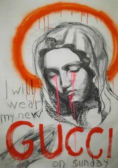 I will wear my new Gucci on Sunday . Acrylic Painting on Paper, by Laszlo Csernatony Lukacs Arte Grunge, Arte Peculiar, Trill Art, Rock Poster, Acrylic Painting On Paper, Wow Art, Hippie Art, Street Art Graffiti, Aesthetic Art