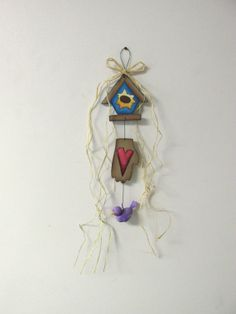 Frog or Bird Garland with Bird House and by barbsheartstrokes,