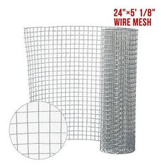 "24"" X 5' 1/8"" Galvanized Welded Metal Mesh Wire Hardware Cloth Chicken Fence"