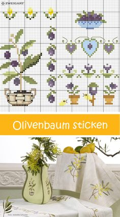 Simple Embroidery, Cross Stitch Embroidery, Cross Stitch Patterns, Cross Stitch Fruit, Cross Stitch Kitchen, Greek Design, Knitting Charts, Small Flowers, Needlepoint