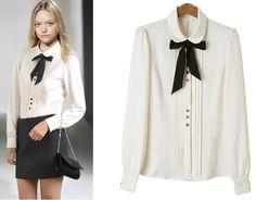 estilo blusa blanca con corbata mujer - Buscar con Google