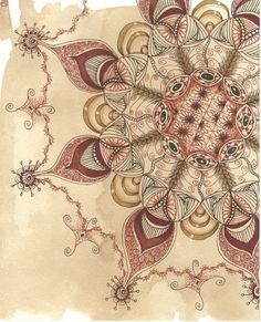 Zentangle Lace III TeaStain art by collectincat on Etsy, $12.00