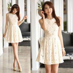 Sweet Lace Sleeveless Dress - White