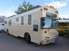 This is the Success Express School Bus Conversion by Charlie Kern of the Art Builders Guild and Look At That Bus. It's a beautiful Blue Bird conversion outfitted with solar panels and all! Pl…