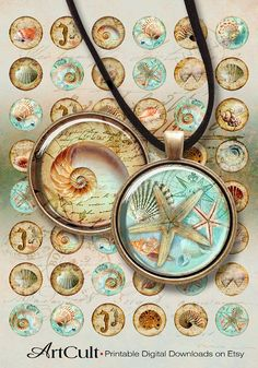 NAUTILUS - Digital Collage Sheet 1 inch size circle Images Printable download for glass resin cabochon Pendants bezel trays bottlecaps