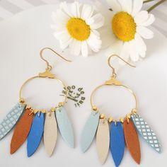 NETZA Design / Boucles d'oreilles en cuir créoles plumes