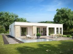 The house has german double glass windows, solar power for warm water, german fireplace in the living room and also imported insulation AAC Three Bedroom House Plan, Family House Plans, Minimalist House Design, Modern House Design, Model House Plan, Modern Bungalow House, Bungalows, Menorca, Home Fashion