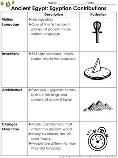 Ancient Egypt: Contributions Study Guide Outline - Contributions - King Virtue's Classroom  Starting your unit on Ancient Egypt? Help your students get off to a great start with this simple study guide outline. This is a great tool that can be used to inform your parents about what their children will be learning about Ancient Egypt and its contributions (written language, inventions, architecture, and present day).