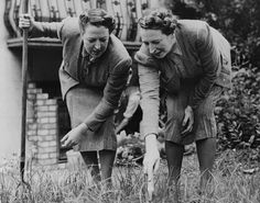 Sisters Elsie and Doris Waters, comedy double act 'Gert and Daisy', at work on their allotment, Regent's Park, London, July 16th 1940. (Photo by Harry Todd/Fox Photos/Getty Images)