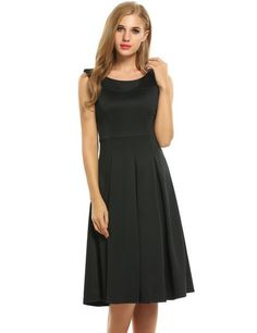 Black Women Round Collar Sleeveless Solid Fit and Flare Pleated Midi Party Dresses