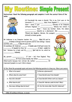 Image result for simple present tense  exercises examples with pictures