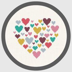 Modern cross stitch pattern heart heart of hearts small