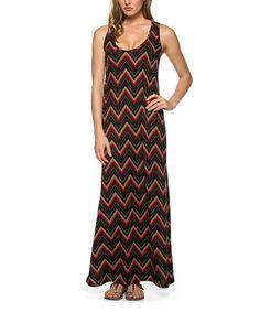 Look at this #zulilyfind! Black & Wine Zigzag Maxi Dress #zulilyfinds
