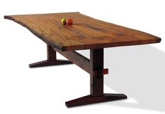 The Bexley Dining Table is one of David Stine's many gorgeous, handcrafted dining room tables. The top is made from two sister boards of Sycamore joined with Walnut bowtie keys. Base is Walnut trestle. Base also available in aluminum, other woods, other designs, and in...