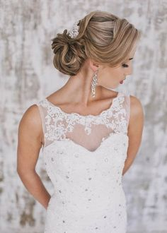vintage wedding updo hairstyle with headpiece ideas / http://www.deerpearlflowers.com/wedding-bridal-hairstyles-for-long-hair/